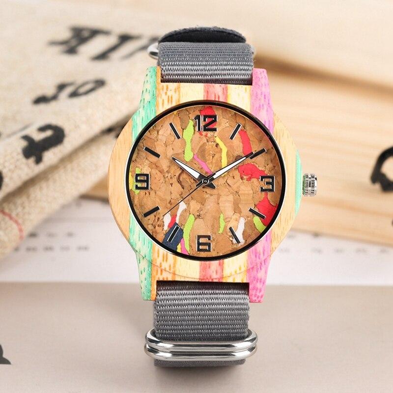 Reloj creativo de madera con diseño de escoria de corcho a rayas, Reloj luminoso para hombre #39s, Reloj de pulsera de nailon para mujer, Reloj Unisex de mad