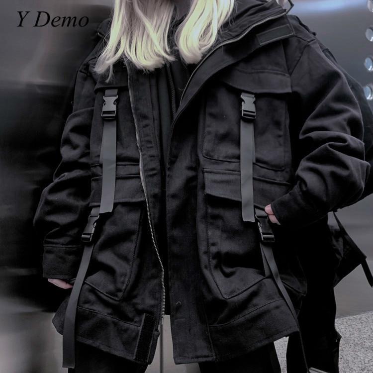 Streetwear Harajuku negro bolsillos Mujer cremallera chaqueta de gran tamaño