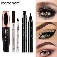 3 stks/set 4D Zijde Fiber Lash Mascara 3 Vorken Tattoo Wenkbrauwpotlood Zwarte Vloeibare eyeliner Pen Eye Liner stamper Eye Make-Up set
