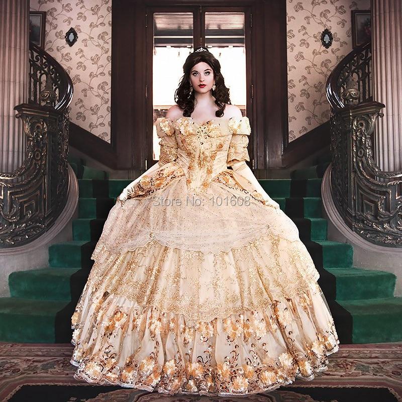 الجديد! فستان كلاسيكي من الدانتيل الفرنسي دوقة الأميرة الملكة لكرة القدم فستان مستعمر من العصر الجورجي عصر النهضة القوطي HL-487