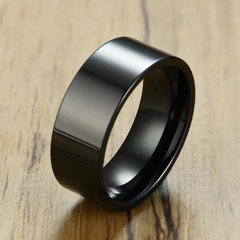 Anillo de boda de acero inoxidable negro de 8MM de alto pulido sencillo para hombre