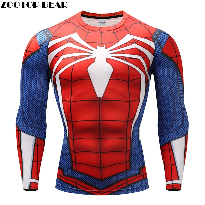 Spiderman T shirts Men Compression T-shirts Fitness Spider Man T-shirts Bodybuilding Top Hot Sale rashguard Brand