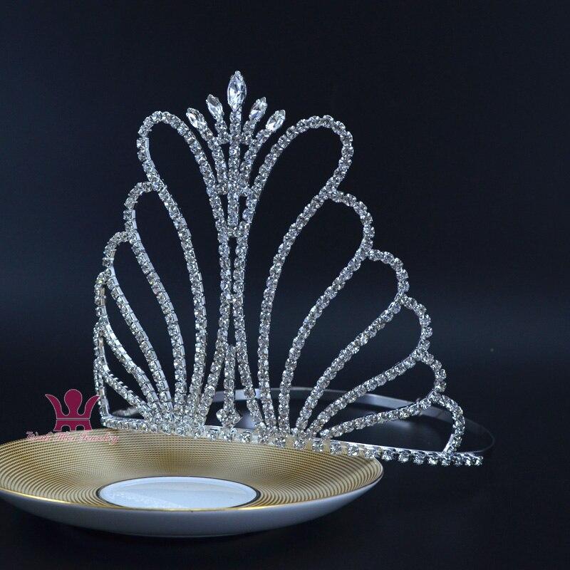 La srta. concurso de belleza alto corona Tiara de novia de cristal de diamante de imitación Boda de Princesa joyería accesorios para el cabello fiesta baile Mo015