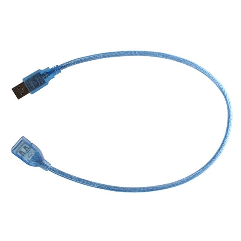 Carcasa de plástico azul, USB 2,0 macho a hembra, extensión de Cable AF/AM, 50 cm