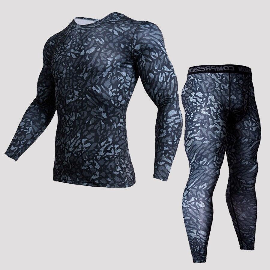 Camisetas térmicas de camuflaje para hombre, ropa interior, camisetas térmicas, conjunto de compresión MMA rash guard, ropa de manga larga para hombre