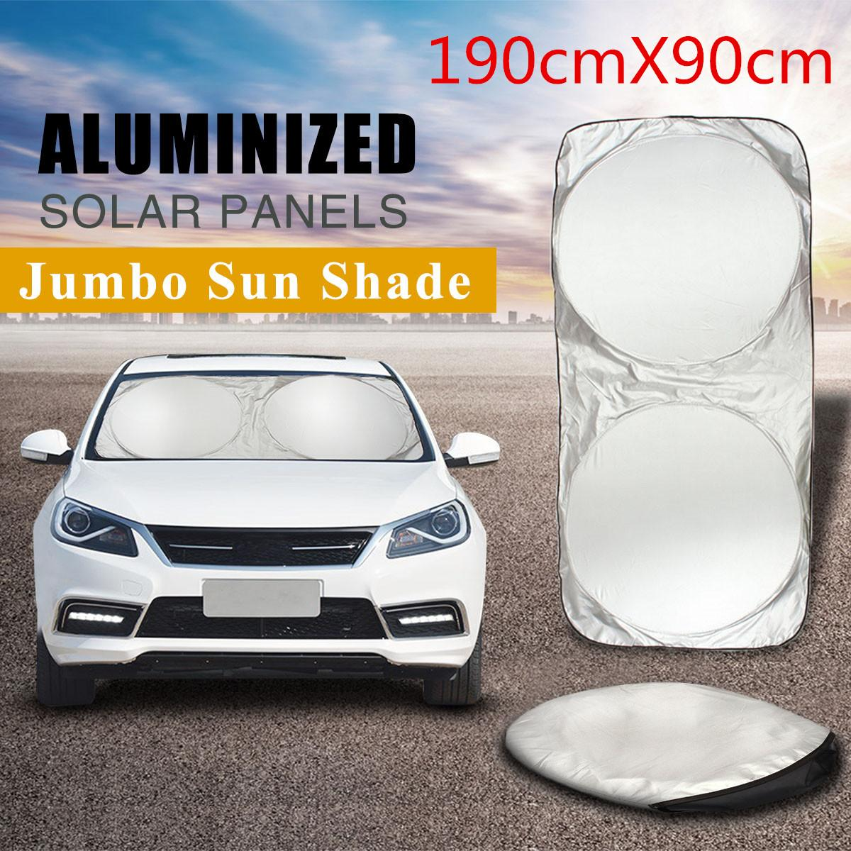 190x90cm Car Sunshade Folding Jumbo Front Rear Window Sun Shade Visor Windshield Block Cover UV Protect Shield Film Reflective