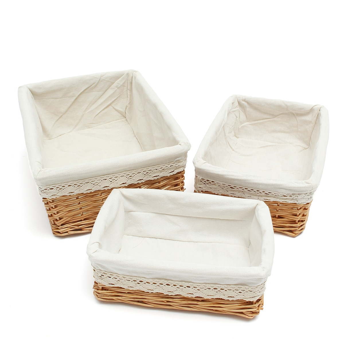 35*25*13cm cesta de almacenamiento Rectangular multiusos de mimbre con revestimiento lavable extraíble de sauce tejido contenedores-tamaño M