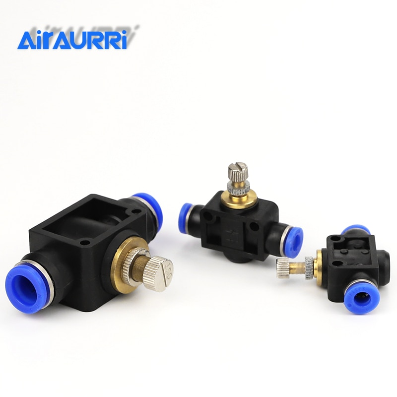 Pneumatic Airflow Regulator 4mm 6mm 8mm 10mm 12mm OD Hose Tube Gas Flow Adjust Valve Connector Fitting Air Speed Controller