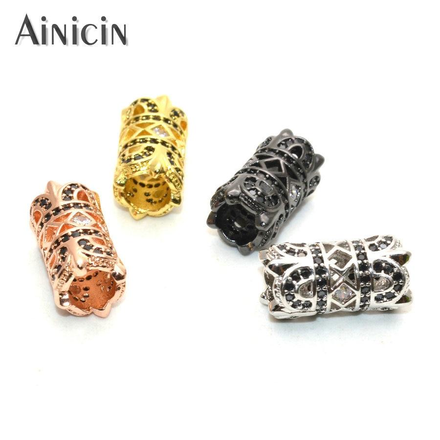 Ajuste de cristal de diamantes de imitación conectores de tubo de agujero grande huecos conexiones de tubo de Metal dorada plateada arma para la fabricación de pulseras 30 Uds