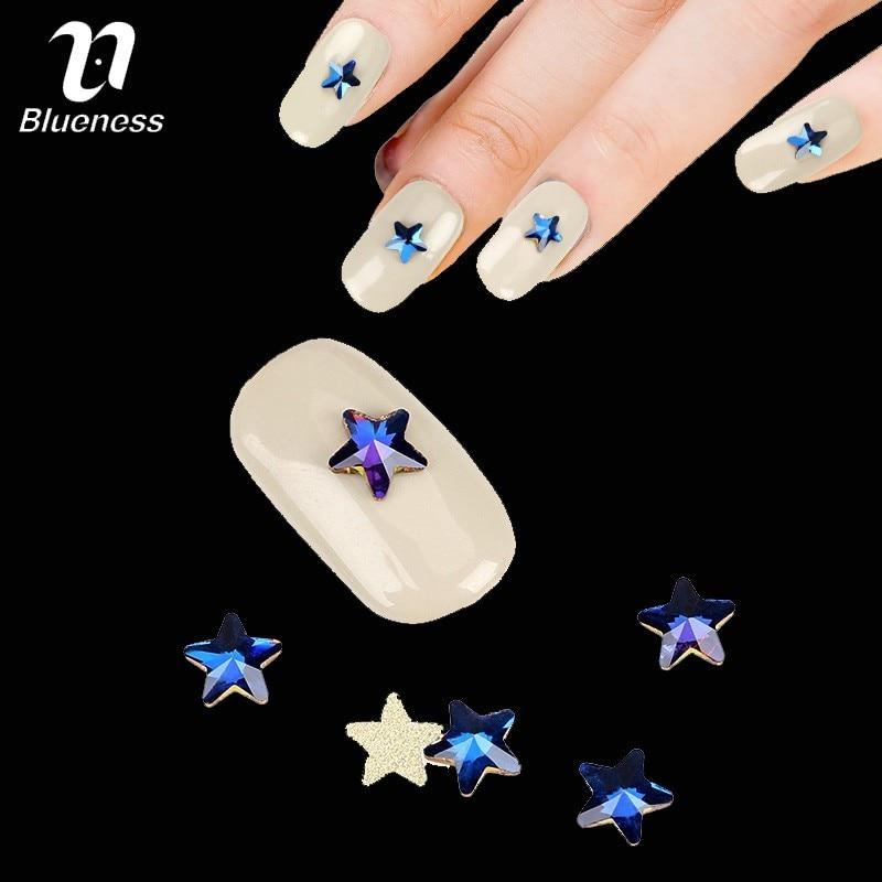 Blueness 10 шт./упак. красочные 3D Звезда Форма ногтей Стразы со стеклянными блестками