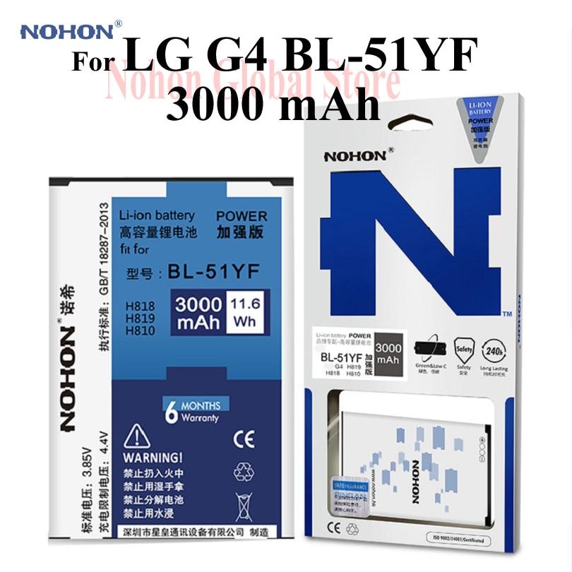 Nuevo NOHON 3000mAh batería para LG G4 H810 H818 H819 VS999 F500 F500S F500K F500L H815T H818N BL-51YF de Li-ion de alta capacidad de batería