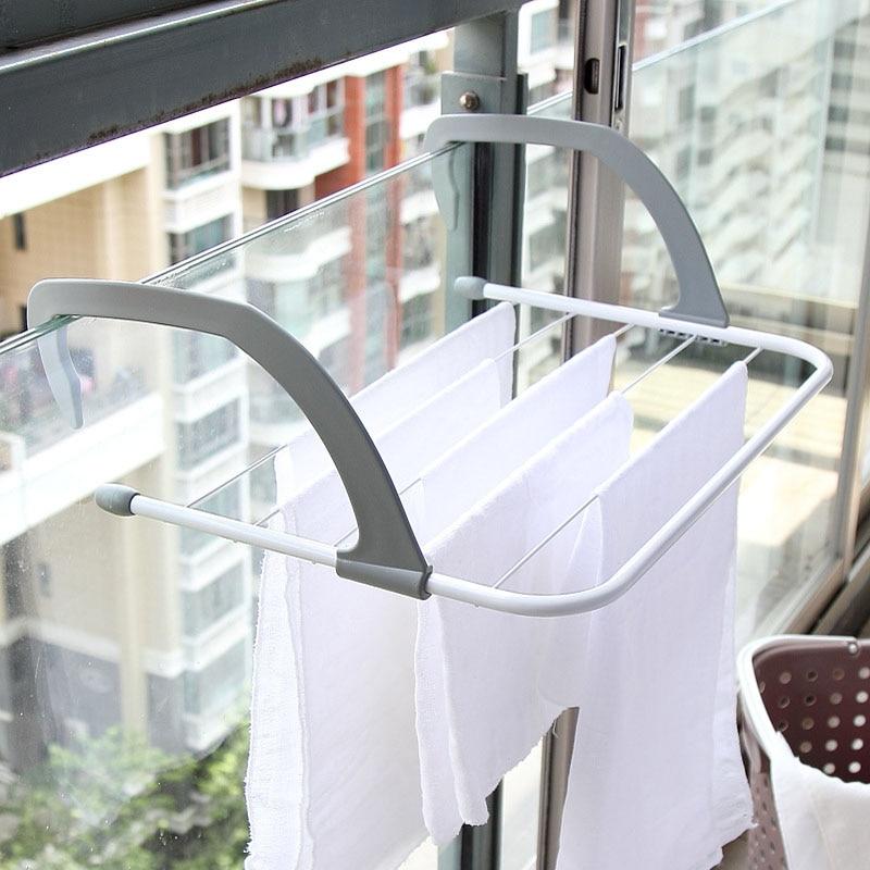 Tendedero plegable portátil percha de ropa sin perforación radiador de calefacción de invierno percha de ropa de balcón 52X16X34.5Cm