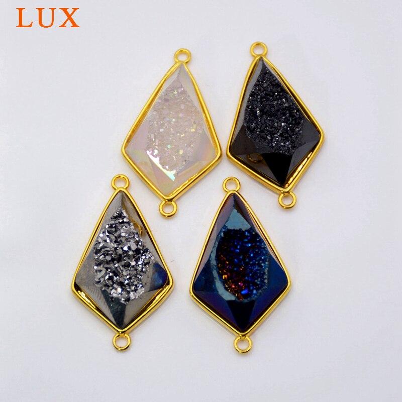 Forma de rombo ágatas Druzy geoda conector negro/plateado/Blanco/Arco Iris drusa piedra encantos drusy joyería colgante de alta calidad