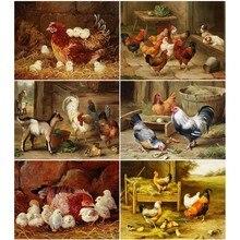 HUACAN Full Square Diamond Painting Animal 5D Diy Diamond Embroidery Chicken Home Farmhouse Decor Picture Mosaic Rhinestone