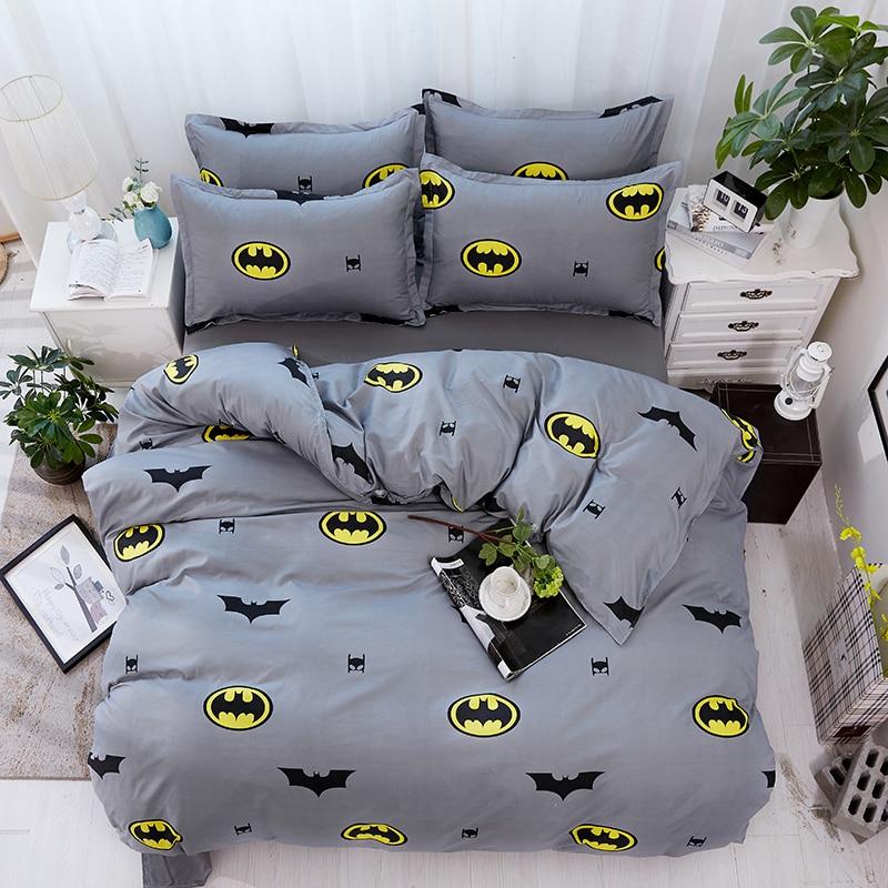 Juego de cama de dibujos animados, funda de edredón suave para niños, juego de cama individual con funda de edredón, ropa de cama doble de Batman, ropa de cama gris 29