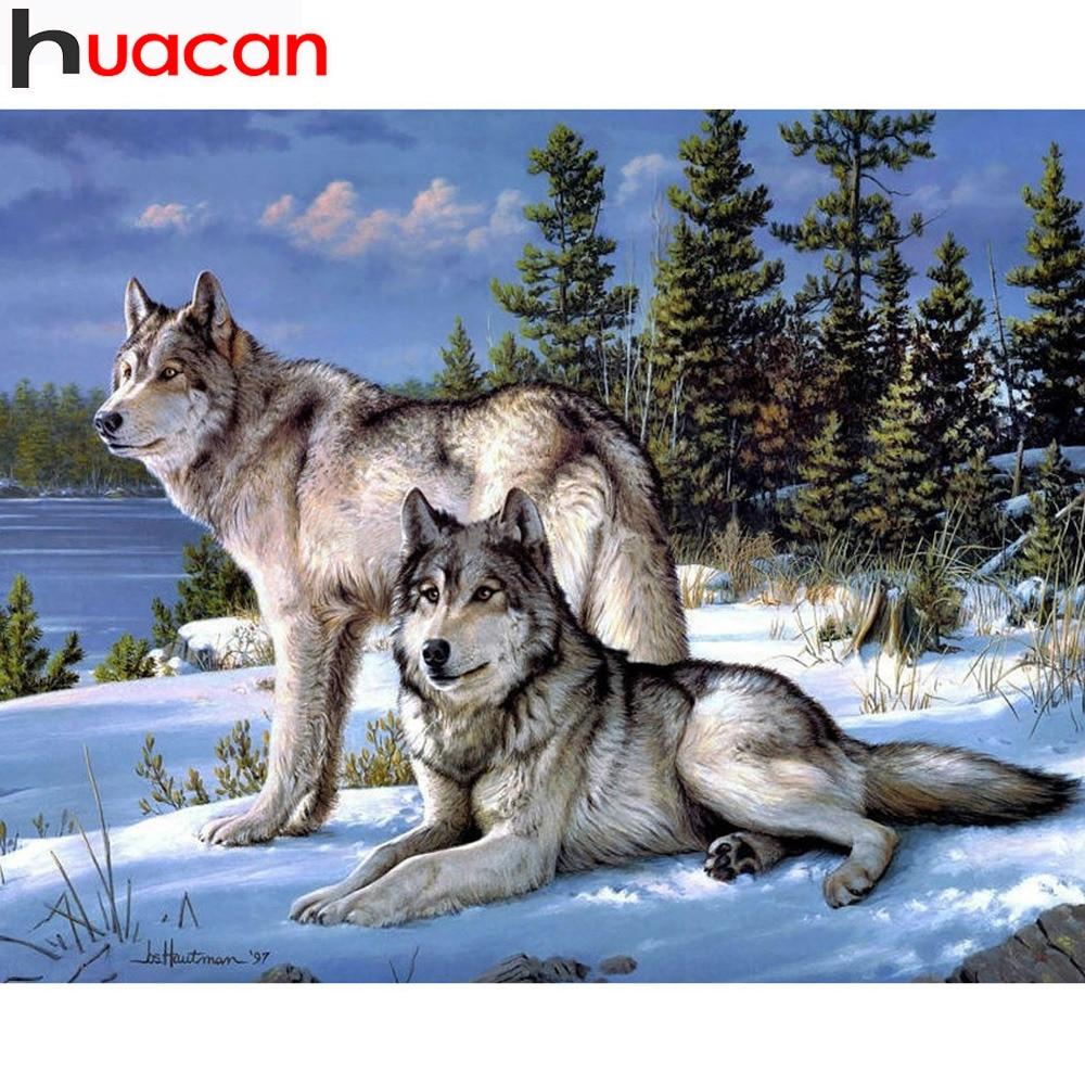 Huacanフル平方ダイヤモンド塗装オオカミ動物ダイヤモンド刺繍針仕事ダイヤモンドモザイクラインストーン趣味家の装飾
