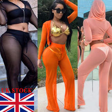 2019 Hot Sexy Women Mesh Sheer Bikini Cover Up See Through Knot Crop Top Flared Mesh Pants Trousers