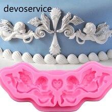 Moule Silicone ange pour gâteau Fondant   Relief européen outils de décoration pâte à gomme, bordure de gâteau au chocolat, moule de pâtisserie