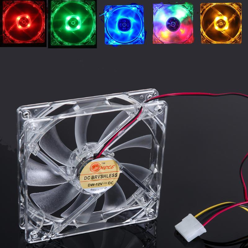 Computador pc 4 led luz ventilador de refrigeração 12cm 4pin transparente caso claro led luminoso chassi cpu cooler dissipador de calor 120mm