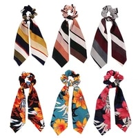 sale new sweet floral women hair band scarf elastic bow hair rope scrunchie hair ties scrunchie ponytail accessories