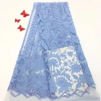latest sky blue nigerian lace fabrics 2019 high quality african lace fabric for wedding party dress swiss french tulle lace