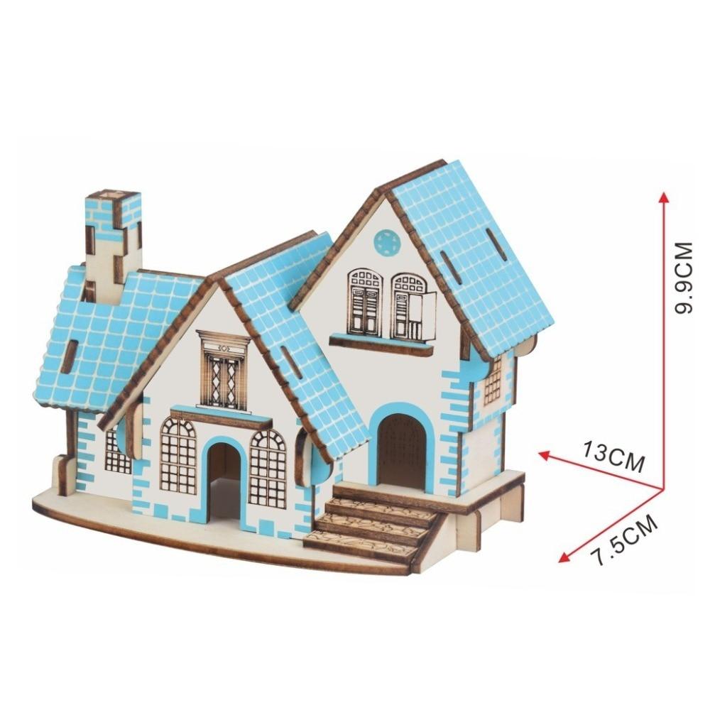 Lulong 3D Wooden Puzzle 3D wood Jigsaw Puzzle Woodcraft Assembly Kit - Blue Cottage with 29pcs Parts