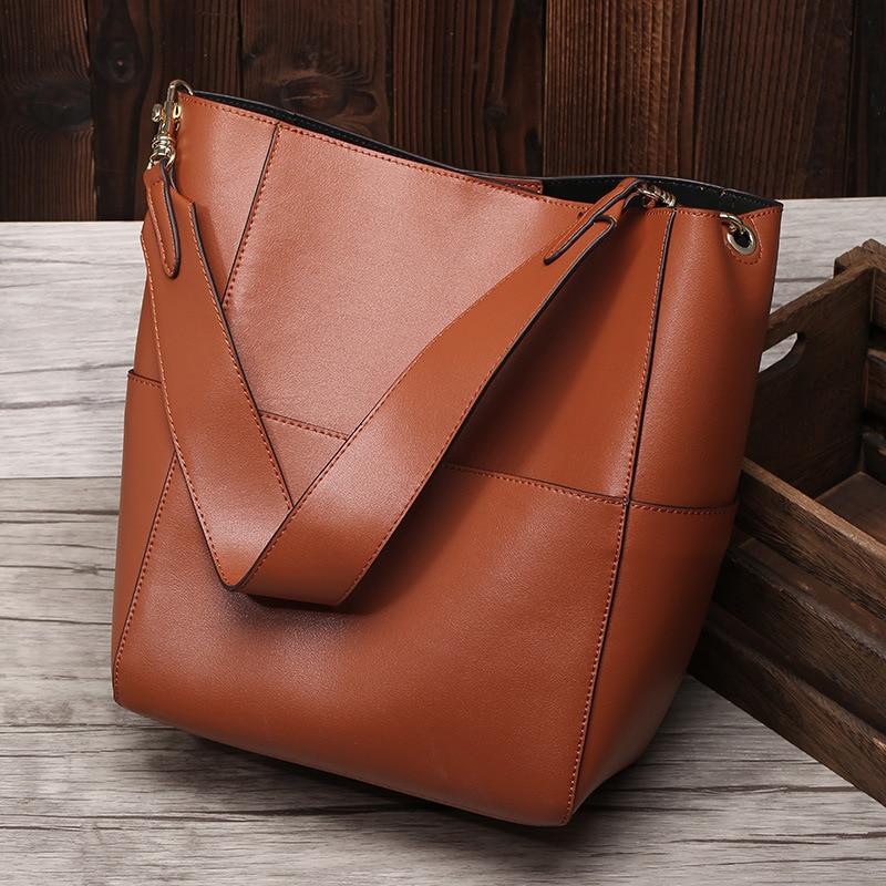 New Large Tote Bag For Women Real Genuine Leather Bucket Handbags Female Luxury Famous Brands Ladies Shoulder Brown Bag Designer