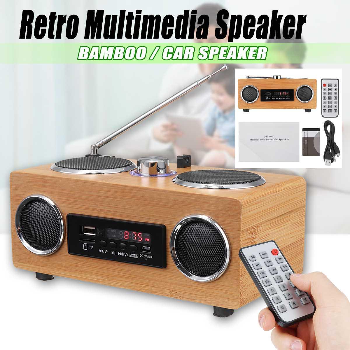 Retro Vintage Radio Supergraves FM Radio bambú Multimedia altavoz clásico receptor USB con reproductor MP3 Control remoto
