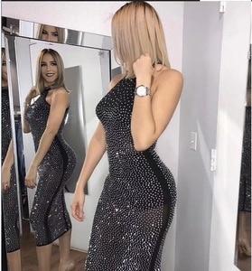 New Long Form Fitting Dress Of Rhinestone Mesh For Woman Sexy Summer Dress Fashion Celebrity