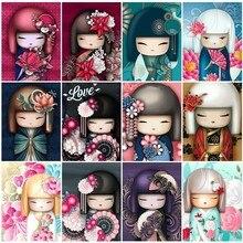 HUACAN Diamant Malerei Cartoon Voll Platz Japan Puppen 5d Diamant Stickerei Hand Malerei Bild Von Strass Mosaik