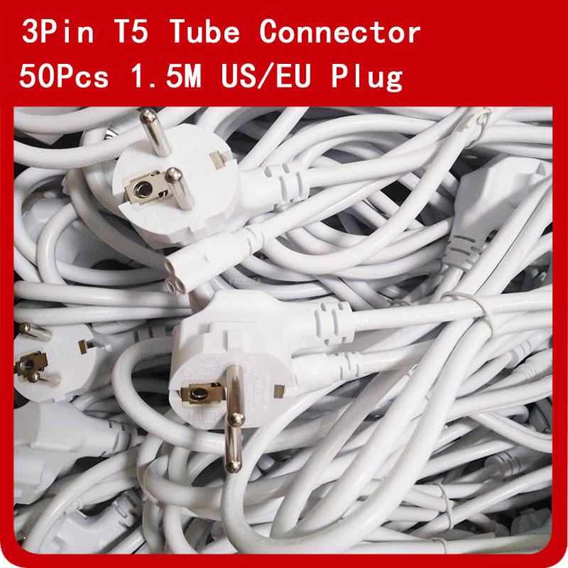 50 قطعة/الوحدة 1.5 M 3Pin موصلات معنا التوصيل/الاتحاد الأوروبي التوصيل تمديد كابل الأبيض اللون AC الطاقة كابلات ل t5 T8 LED أنبوب مصباح بواسطة DHL