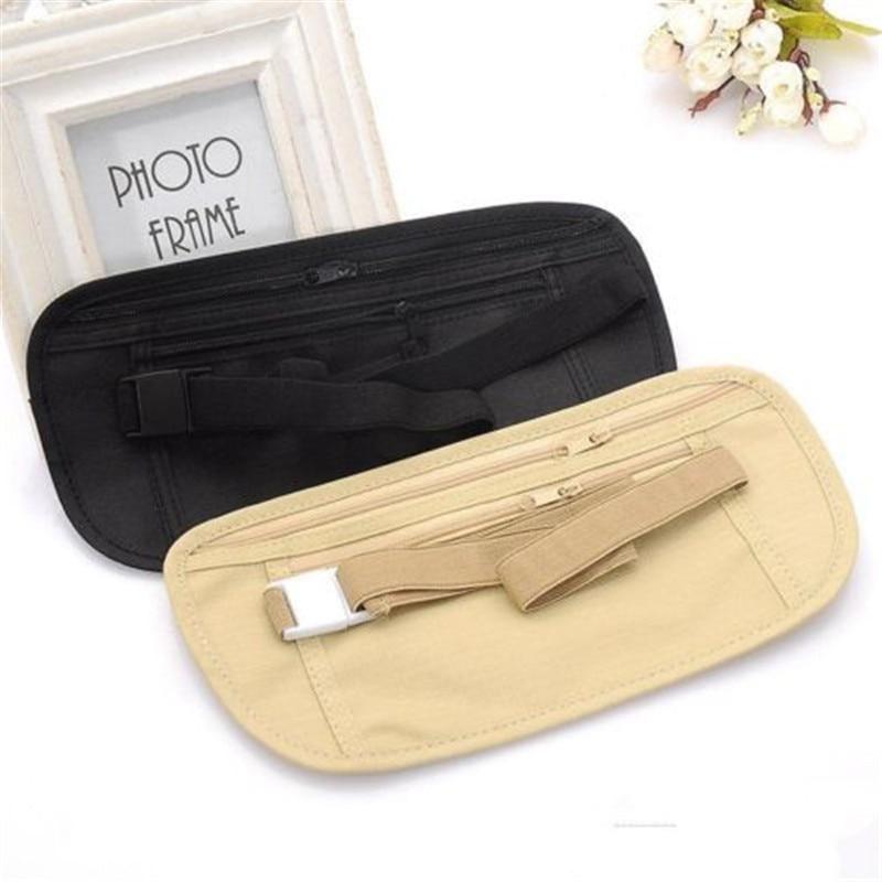 Bolsa de cintura de viaje para pasaporte, bolsa de cinturón de dinero, Cartera de seguridad oculta, regalos, bolsa de cintura ultrafina con bolsillos ocultos