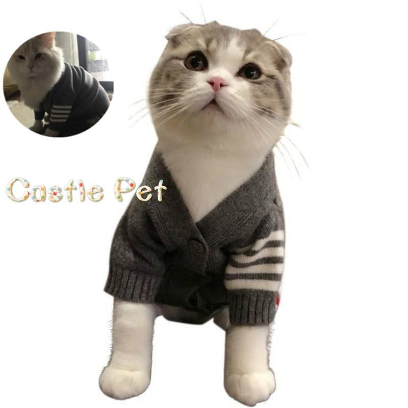 Chaqueta o suéter de gato de Diseño de Moda de ocio cárdigan tejido de gato disfraz clásico de gato para cachorro gatito Peluche de caniche Ragdoll