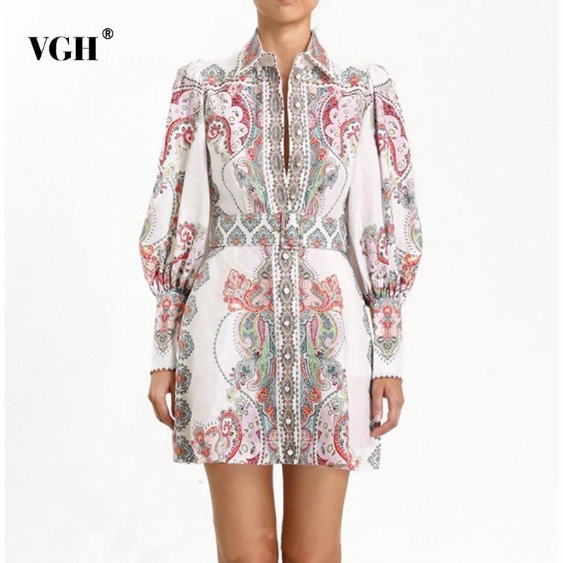 VGH 2020 Spring Casual Print Dress For Women Lapel Collar Lantern Sleeve High Waist Slim A Line Dresses Female Fashion New Tide
