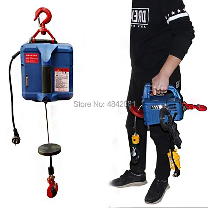200KG Three In One Electric Hoist Portable Hand Winch Traction Block Steel Wire Rope Lifting Hoist 220V/110V