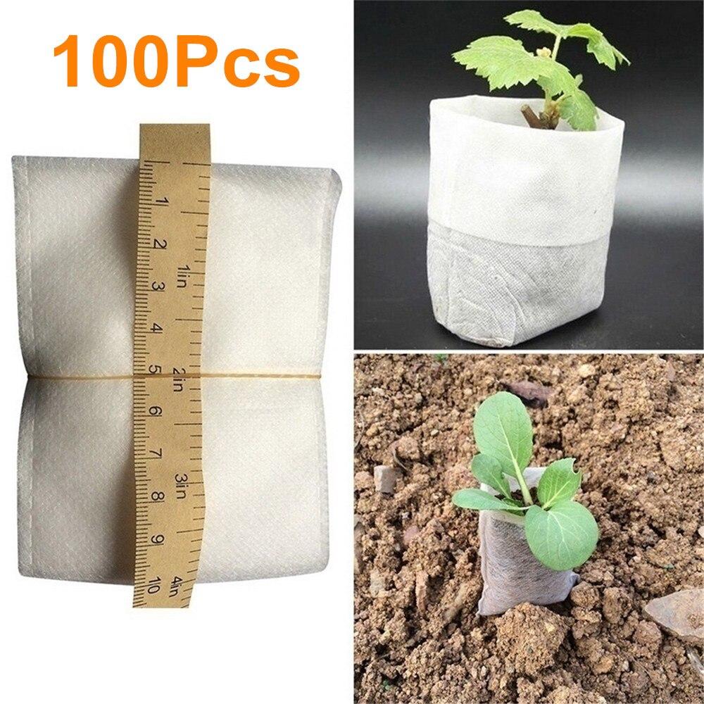 Lote de 100 unidades de bolsas de semillas biodegradables para vivero, macetas de flores no tejidas para vivero, macetas para cultivo de trasplantones de verduras, macetas para jardín