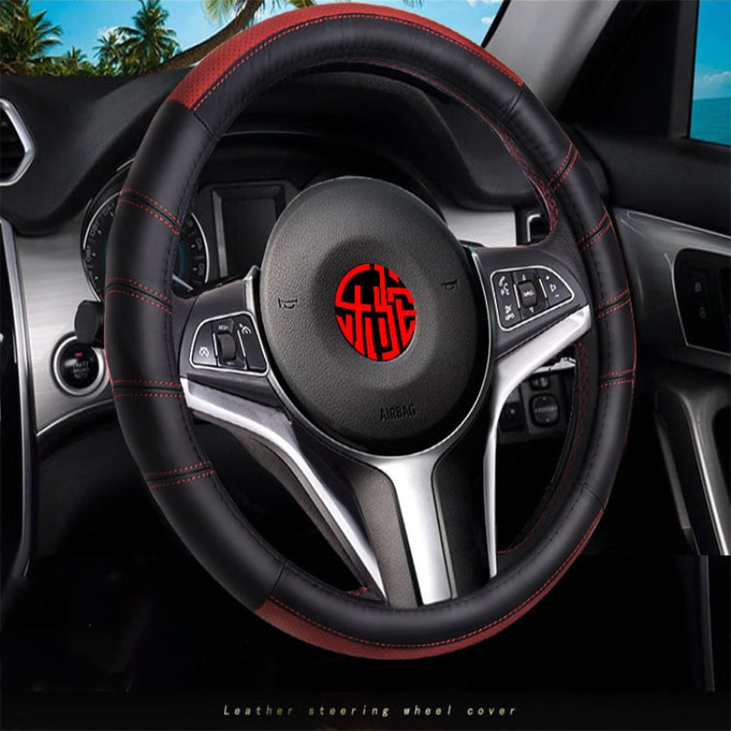 38cm Genuine Leather Car Steering Wheel Cover Auto Accessories