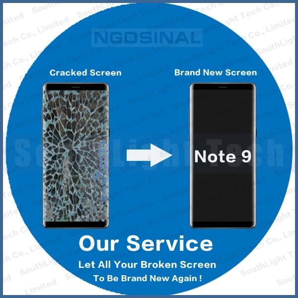Servicio de reparación Original AMOLED para Samsung Galaxy Note 9 LCD pantalla táctil N960F pantalla con marco agrietado cristal digitalizador renovar