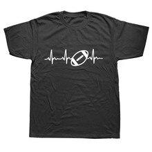 Funny Heartbeat Of American Footballer T Shirt Brand Fashion Men Short Sleeve Cotton Rugbyer T-shirt Tops Streetwear Cool Tees