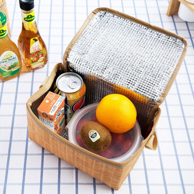 Caja de Picnic aislante portátil para exteriores, bolsa de gran capacidad tejida térmica impermeable, caja de almacenamiento de alimentos aislante para Camping #1121
