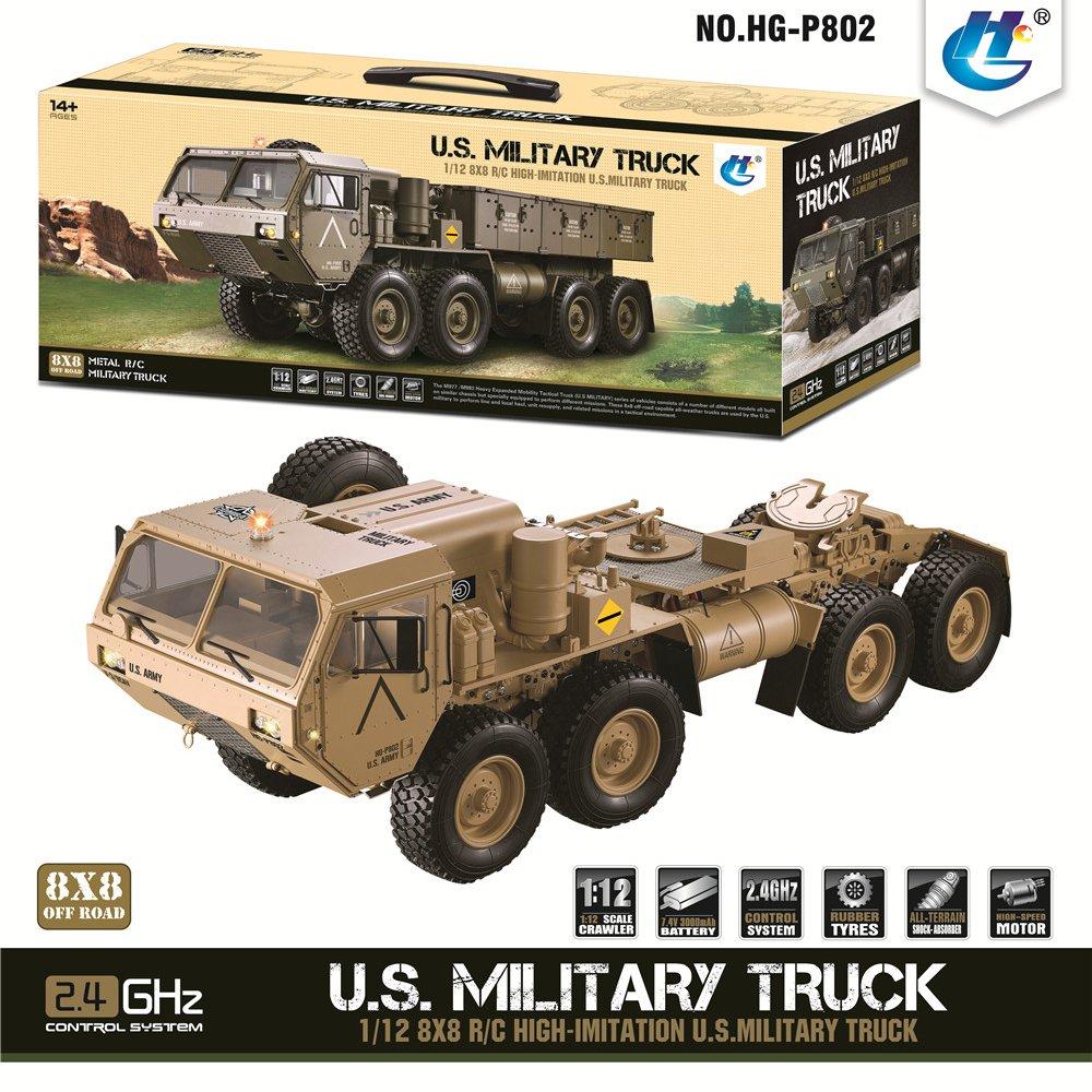 Hots HG P801 P802 1/12 2.4G 8X8 M983 739 مللي متر سيارة الجيش الأمريكي بدون شاحن بطارية سيارة سباق للأطفال هدية