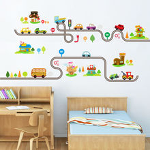 Autocollants muraux pour véhicules de Transport   Autocollants muraux, pour arbre de voiture, pour enfants, bébés et chambre à coucher, bricolage
