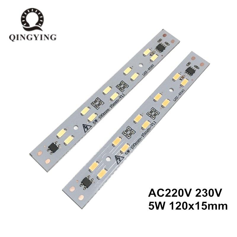 1 Uds AC 220v LED barra de luz de cristal tira de 5W 120mm 160mm módulo de controlador libre SMD 5730 LED PCB blanco cálido T5 T8 fuente de luz