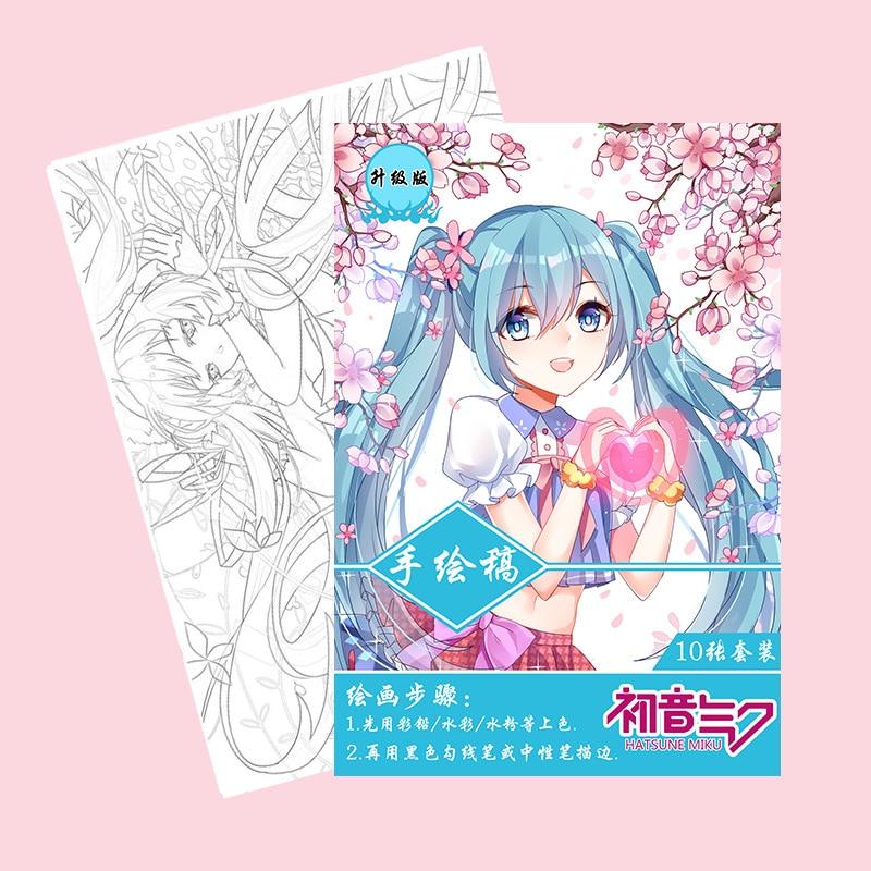 10 páginas/libro Anime Hatsune Miku libro para colorear para niños pintura dibujo antiestrés libros A4