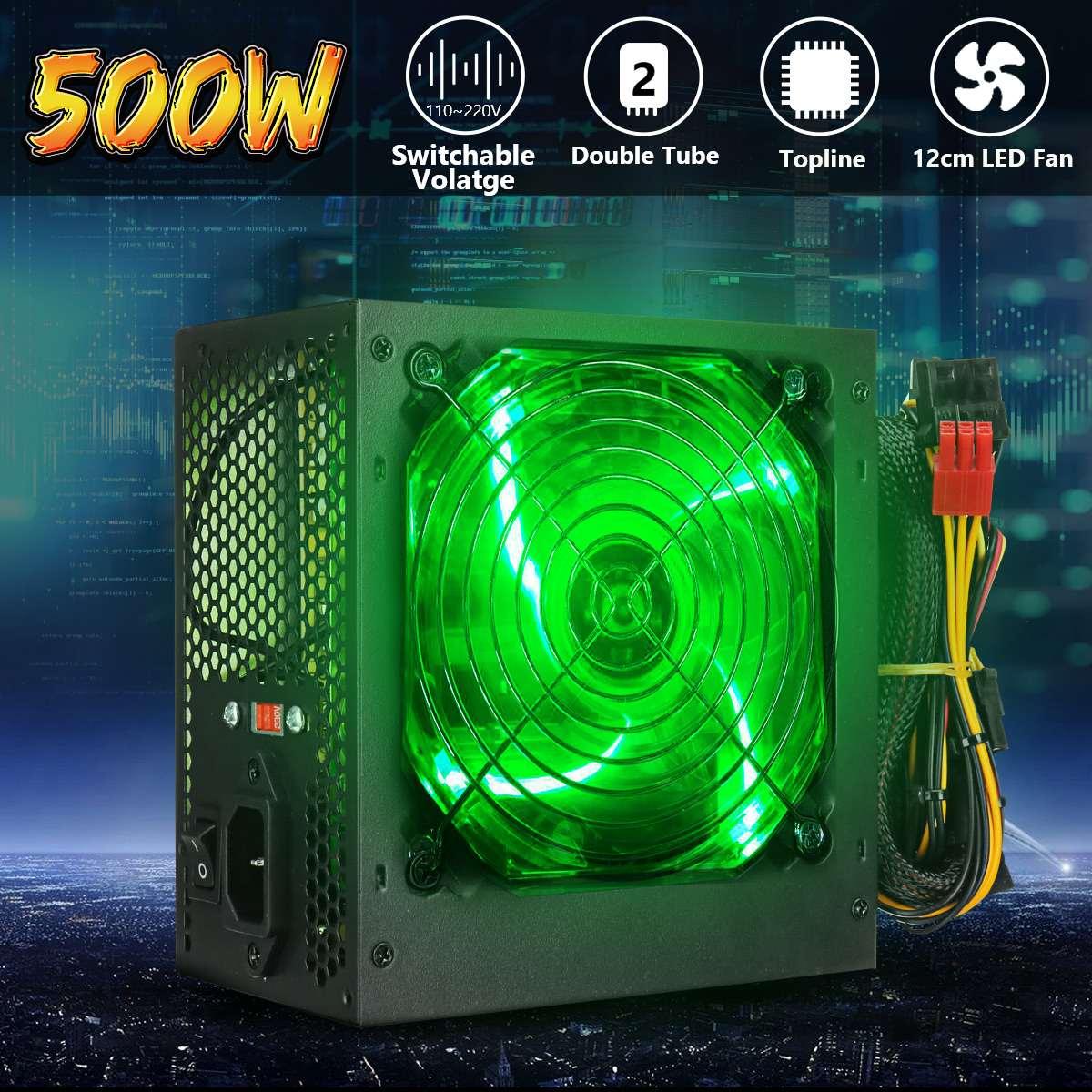 Max 500W Netzteil 120mm LED Fan 24 Pin PCI SATA ATX 12V PC Computer Netzteil für Desktop-Gaming-Computer