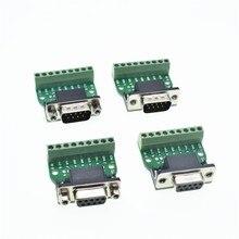 D-sub 9pin connecteurs sans soudure DB9 RS232   Série à Terminal, connecteur adaptateur mâle femelle, panneau de dérivation noir + vert