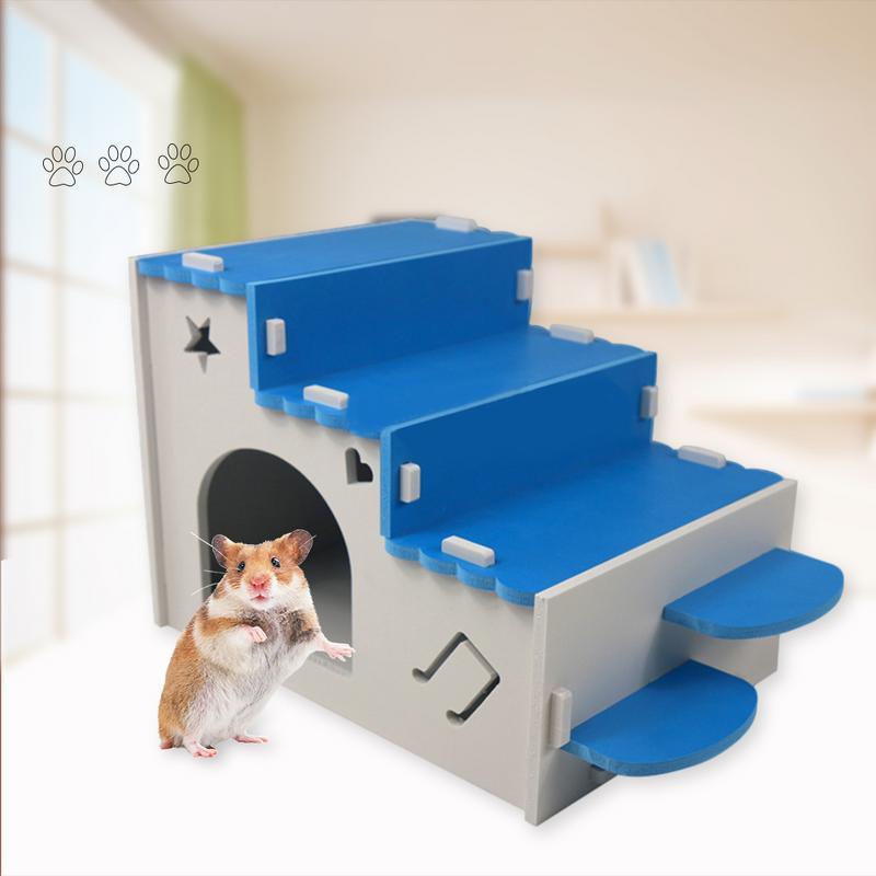 De Madera de Casa de hámster juguete CageToys hámster mascotas pequeñas casa pequeña casa de mascotas nido de hamsters al aire libre Villa con escalera