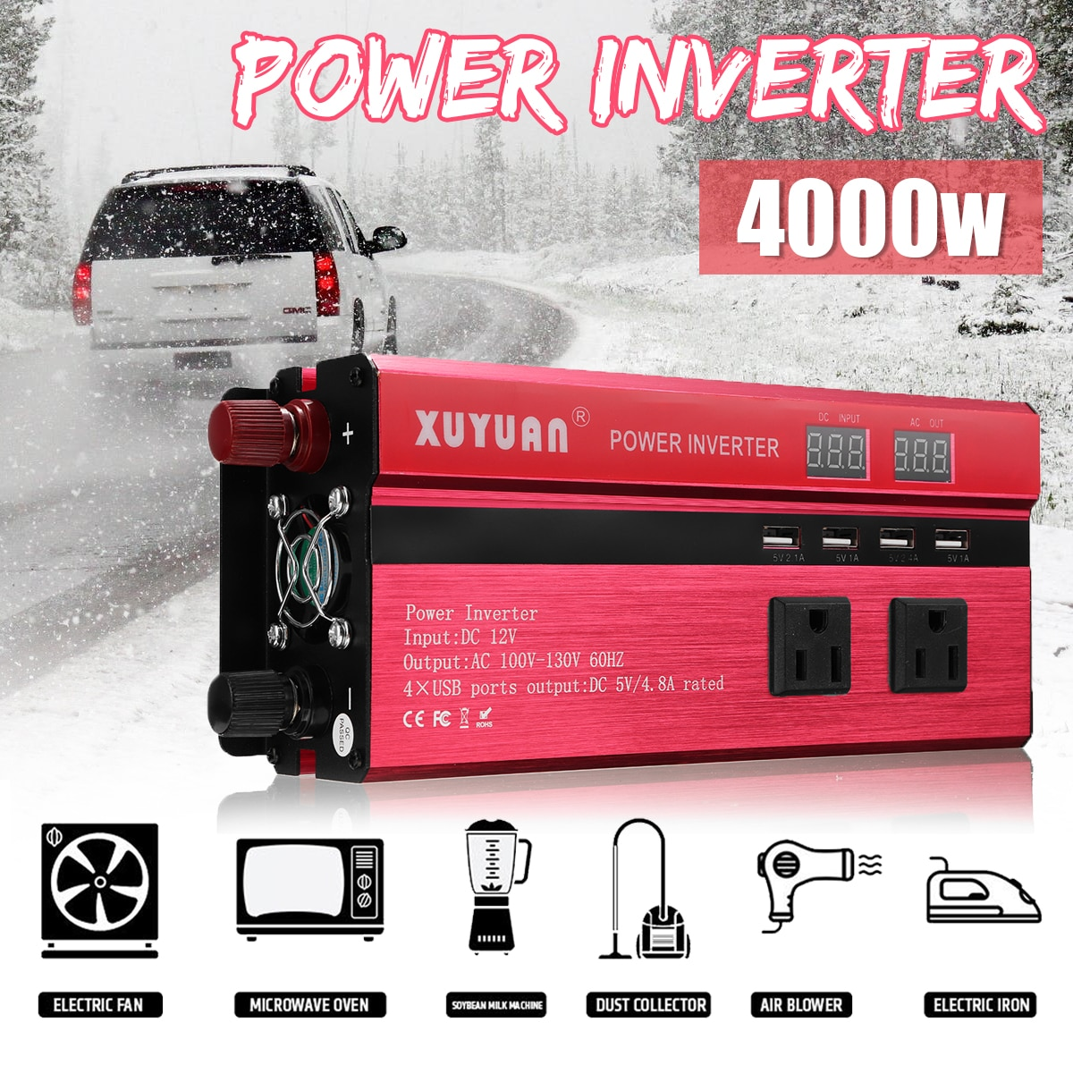 Solar Inverter 12V 220V 4000W P eak Spannung Transformator Konverter DC 12V Zu AC 220V auto Inverter Sinus Welle Inverter RU Lager