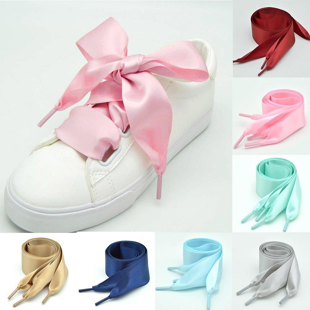 1 par de cordones de zapatos de seda plana de Color caramelo, cinta de seda satinada Unisex, cordones de zapatos, cordones de zapatos de 4cm de ancho
