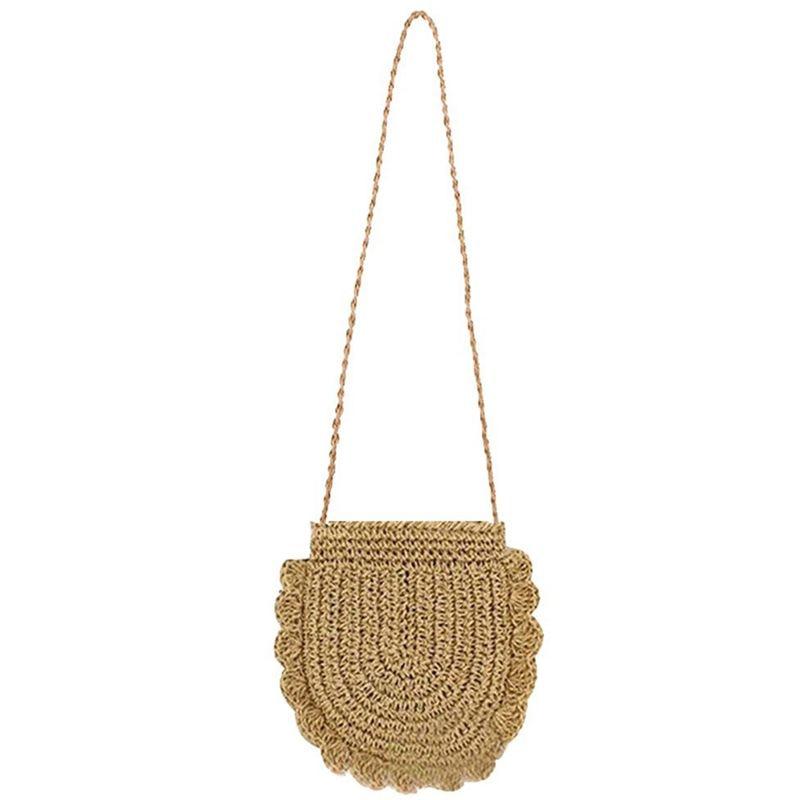 Bolsa de praia feminina palha redonda crochê ombro bolsa de verão